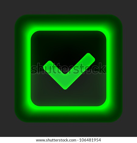 Green glossy web button with check mark sign. Rounded square shape icon on gray background. 10 eps - stock vector