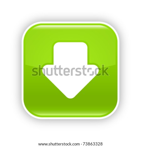 Green glossy web 2.0 button with download arrow sign. Rounded square sticker with shadow on white. 10 eps - stock vector