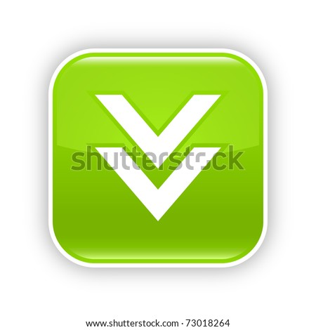 Green glossy web 2.0 button with download icon. Rounded square sticker with shadow on white. 10 eps - stock vector