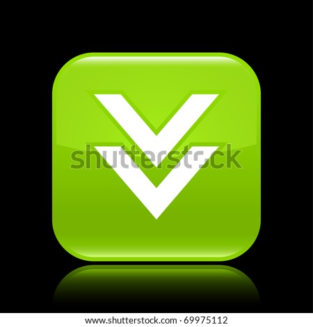 Green glossy web 2.0 button with download sign. Rounded square shape with reflection on black background - stock vector