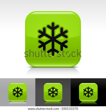 Green glossy web button with low temperature black snowflake sign. Rounded square shape icon with shadow, reflection on white, gray, black background. - stock vector