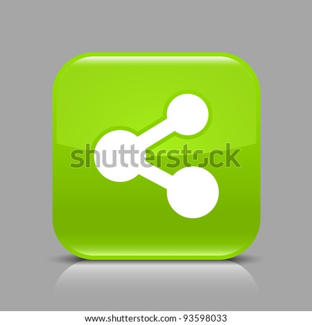 Green glossy web button with share sign. Rounded square shape icon with black shadow and light reflection on gray background. This vector illustration saved in 8 eps. See more buttons in my gallery - stock vector