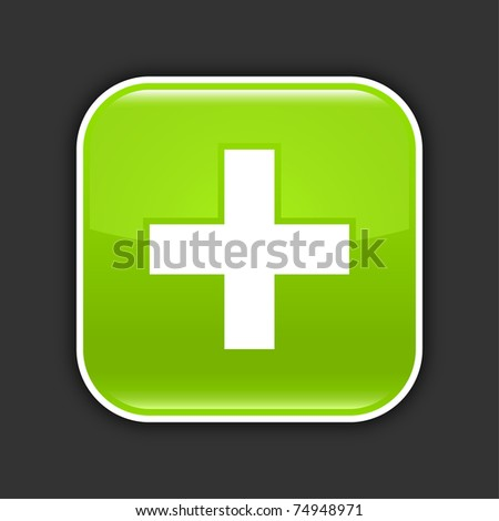 Green glossy web 2.0 icon with plus sign. Rounded square button with shadow on gray. 10 eps - stock vector