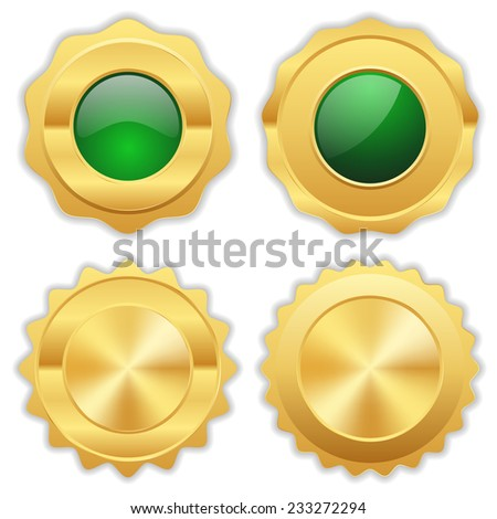 Green gold badge collection on white background - stock vector