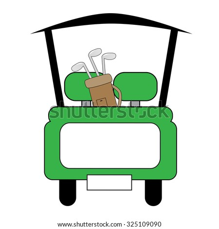 Green Golf Cart - stock vector