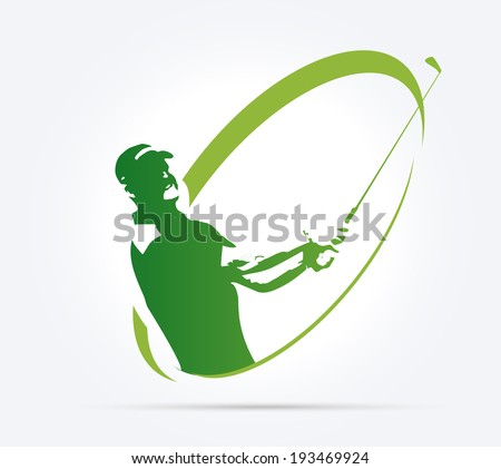 Green golf icons silhouette isolated on white, vector illustration - stock vector