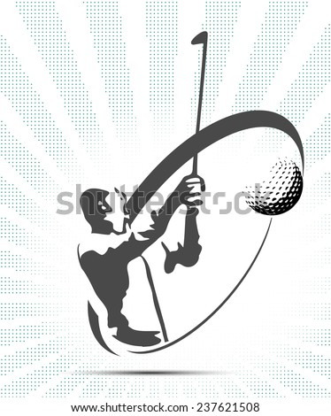 Green golf icons silhouette with green stripes, vector illustration - stock vector