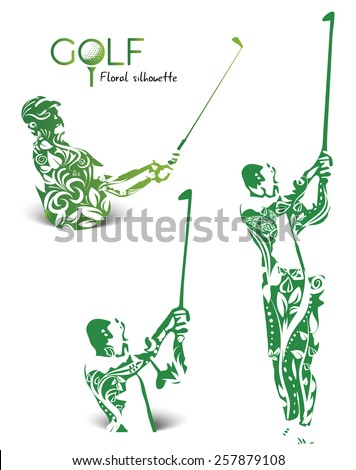 Green golfer silhouettes with leaves and flowers, illustration isolated on white - stock vector