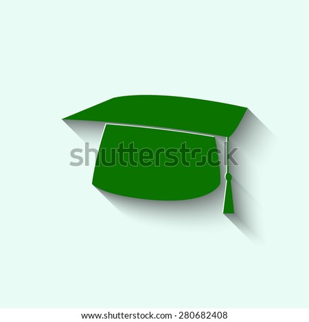 green Graduation cap icon - stock vector