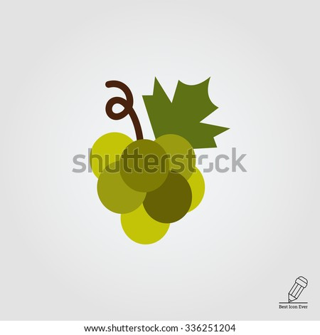 Green grape bunch. Vector icon for presentation, training, marketing, design, web. Can be used for creative template, logo, sign, craft. Isolated on white background. Vector black silhouette.  - stock vector