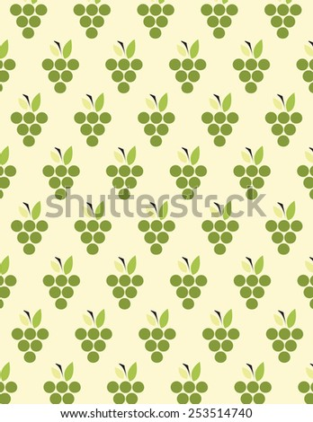 Green grapes pattern over cream color background - stock vector