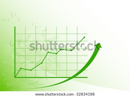 Green graph is growing up on the white background. - stock vector