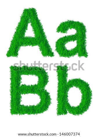 Green grass alphabet, big and small letters A, B