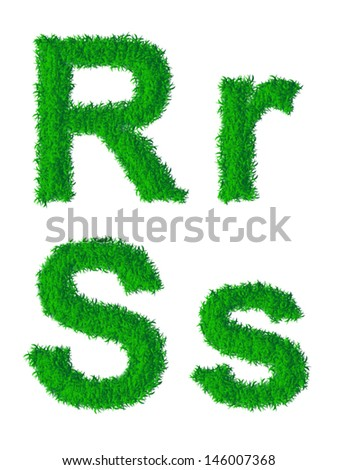 Green grass alphabet, big and small letters R, S