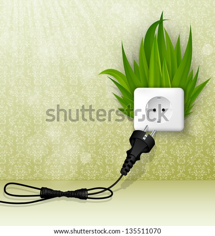 Green grass and a socket with plugs. the concept of clean energy - stock vector