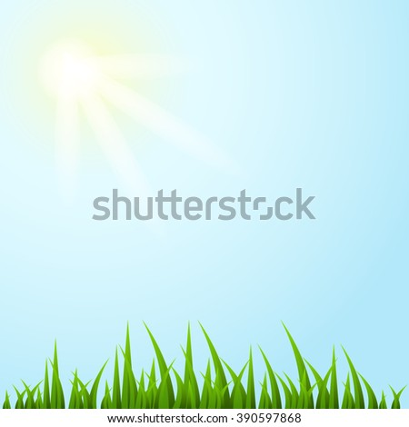 Green grass and blue sky, summer illustration. Grass vector. Grass eps. Grass jpeg. Grass art. Grass bright. Grass picture. - stock vector