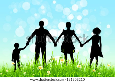 Green Grass and Blue Sky with Black Family Silhouettes.