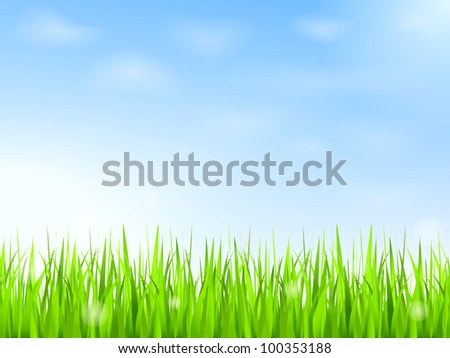 Green grass and blue sky with clouds, vector eps10 illustration - stock vector