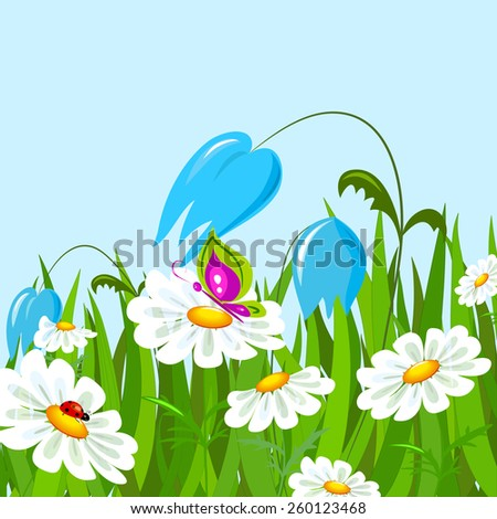 Green grass and colorful spring flowers. - stock vector