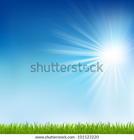 Green Grass And Sun Beam With Blur, Vector Illustration - stock vector