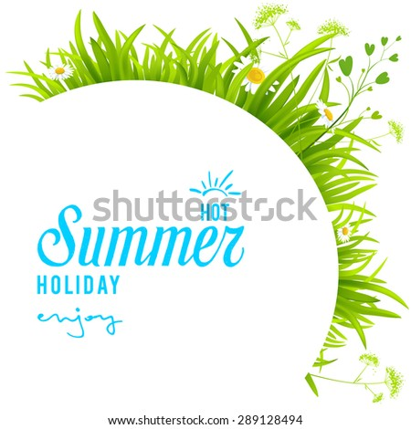 Green grass background with place for text - stock vector
