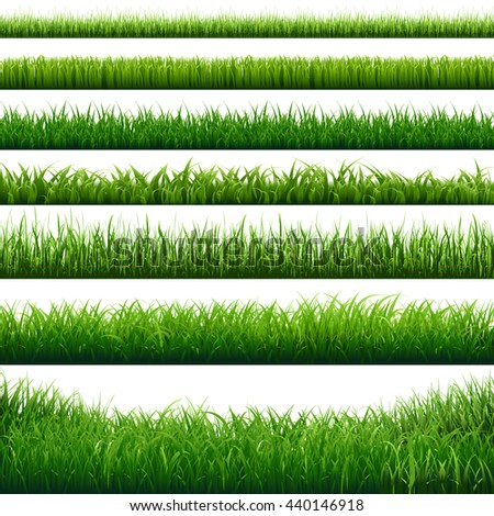 Green Grass Big Borders Set, Vector Illustration - stock vector