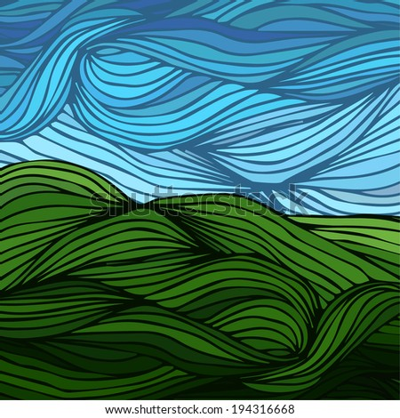 green grass. blue sky - stock vector