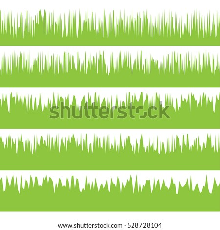 green grass borders set on isolate background, vector illustration
