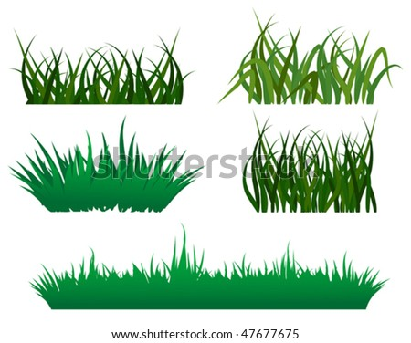 Green grass elements for design and decorate. Jpeg version is also available - stock vector
