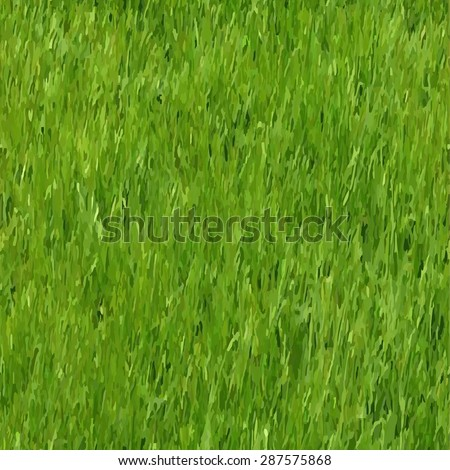Green grass field. Seamless  watercolor vector pattern for you design. - stock vector