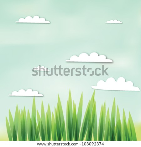 Green grass in a blue sky and clouds - stock vector