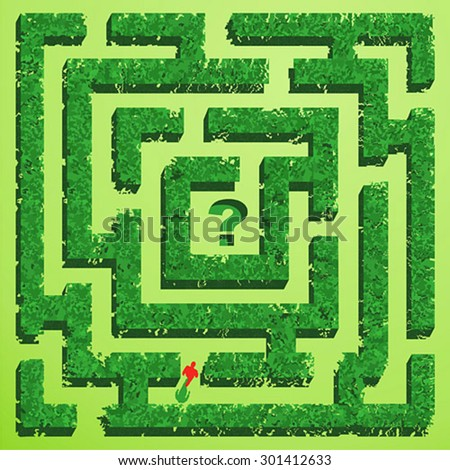 Green grass maze on green background