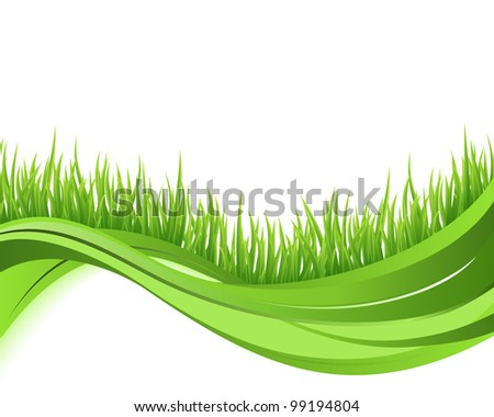 Green grass nature wave background. Eco concept illustration - stock vector