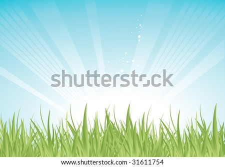 green grass over blue shiny sky, vector background