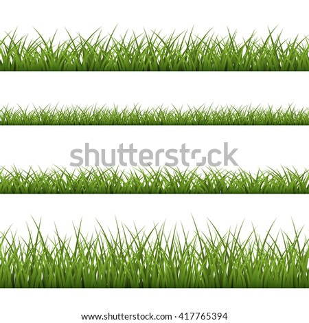 Green grass seamless pattern. Nature background design. Horizontal silhouette, isolated on white background. Symbol of nature, field, lawn and meadow, fresh, summer. Design element Vector illustration - stock vector
