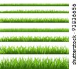 Green Grass Set, Isolated On White Background, Vector Illustration - stock photo