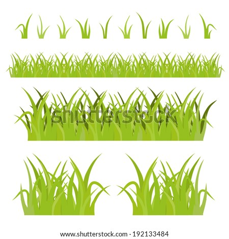 Green Grass Set, Isolated On White Background, Vector Illustration - stock vector
