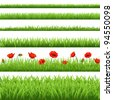 Green Grass Set With Red Poppy, Isolated On White Background, Vector Illustration - stock vector