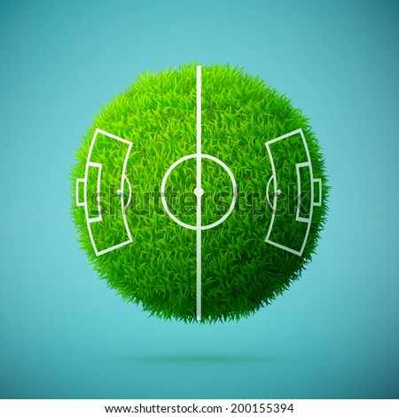 Green grass sphere with soccer field on a blue clear background eps10 vector illustration - stock vector