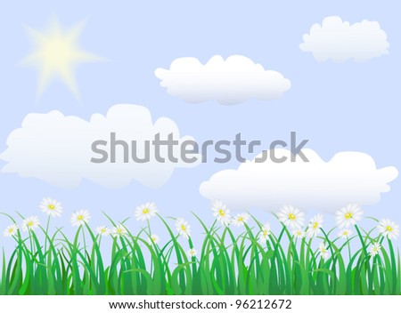 green grass under blue sky with sun an clouds