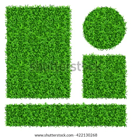 Green grass vector banners set. Flora decoration grass plant and nature floral grass illustration - stock vector