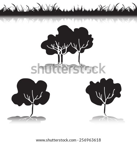 Green Grass with bushes. Isolated On White Background. Grass different shape. Vector Illustration. Concept design elements for garden. Spring Garden with shadow-02 - stock vector