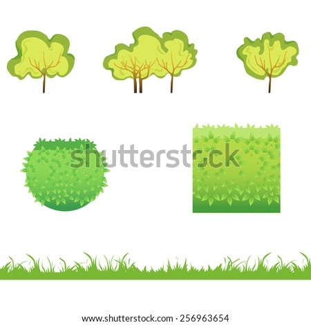 Green Grass with bushes. Isolated On White Background. Grass different shape. Vector Illustration. Concept  design elements for garden. Spring Garden. Eps 8 - stock vector