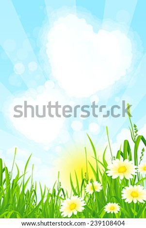 Green Grass with Clouds, Sun and Rays - stock vector