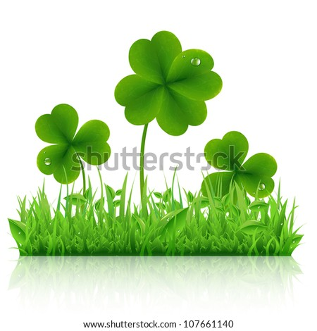 Green Grass With Clover, Isolated On White Background, Vector Illustration - stock vector