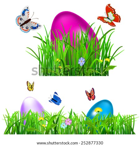 Green grass with Easter eggs, flowers and butterflies on white background - stock vector