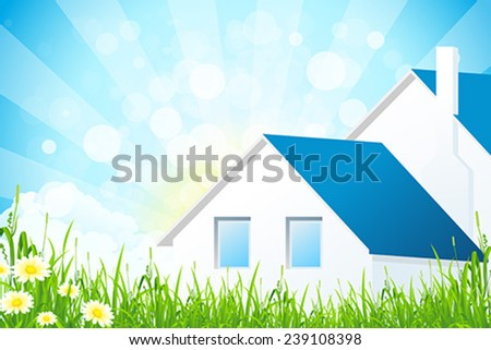 Green Grass with House and Clouds - stock vector