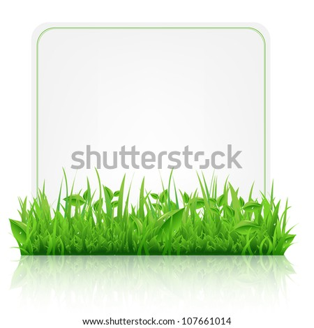 Green Grass With Paper Sheet, Isolated On White Background, Vector Illustration - stock vector