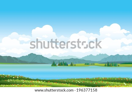 Green grass with red flowers and blue lake on a mountains background. Nature vector landscape. - stock vector