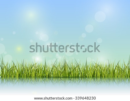 Green grass with reflection on water floor.Bokeh effect on light green and blue pastel color background with copy space. Spring nature season and Blank space for content or your design as background - stock vector